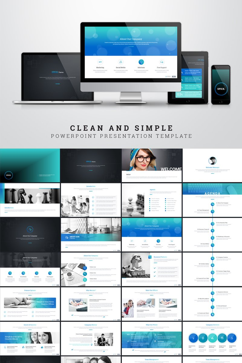 Clean and simple presentation special topic PowerPoint Template - screenshot