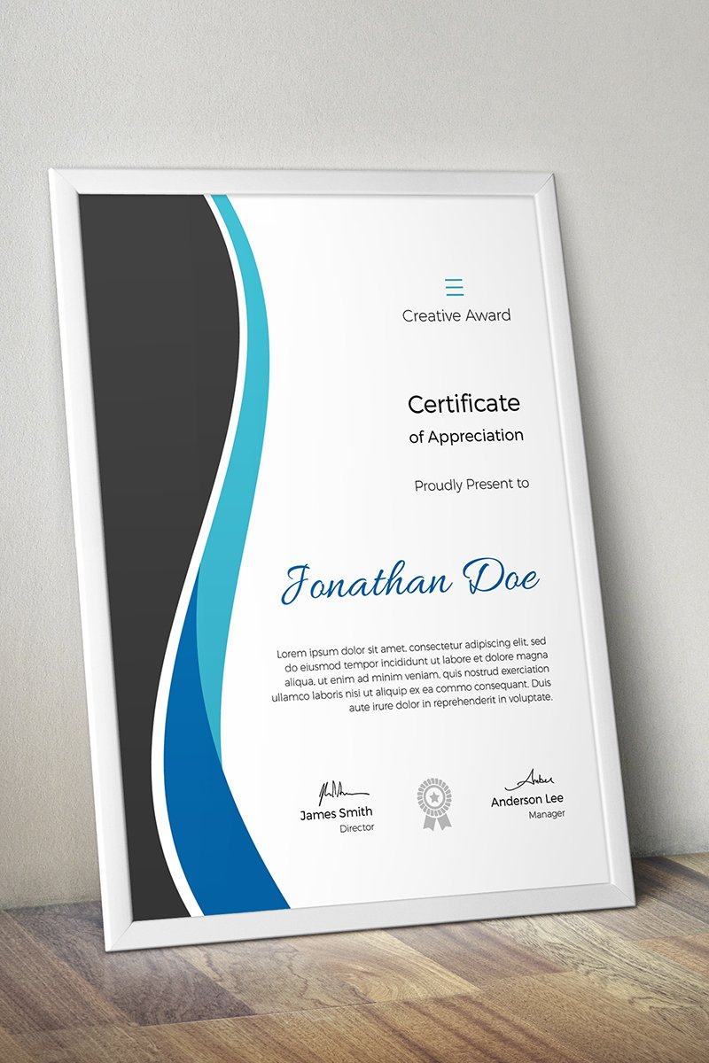 creative award certificate template  68387
