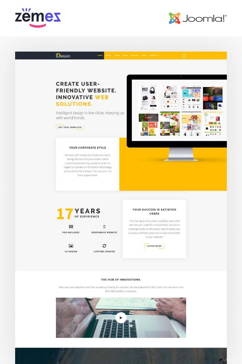 """""""Dessin - Electronic Store Multipage Creative"""" 响应式Joomla模板 #68304"""