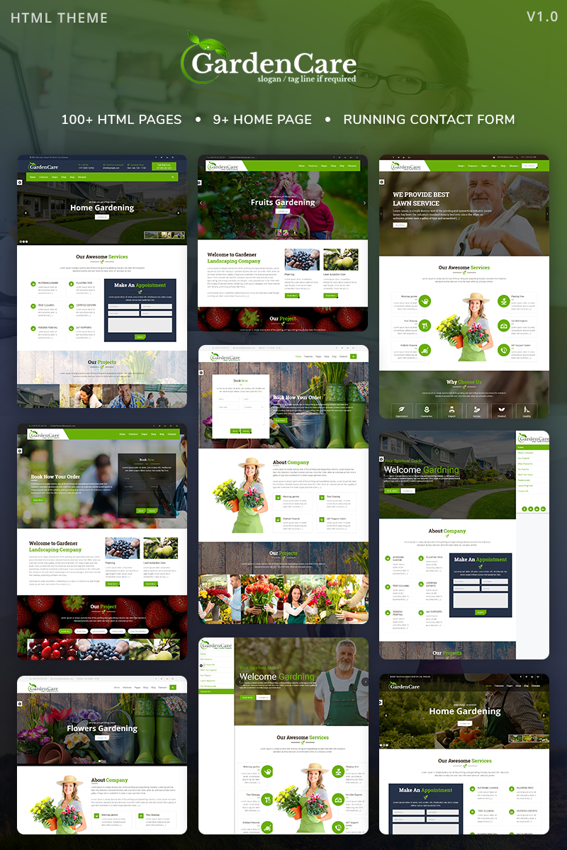 """GardenCare - Gardening For Flowers, Fruits, Vegetable Planting & Landscaping"" Responsive Website template №68382"