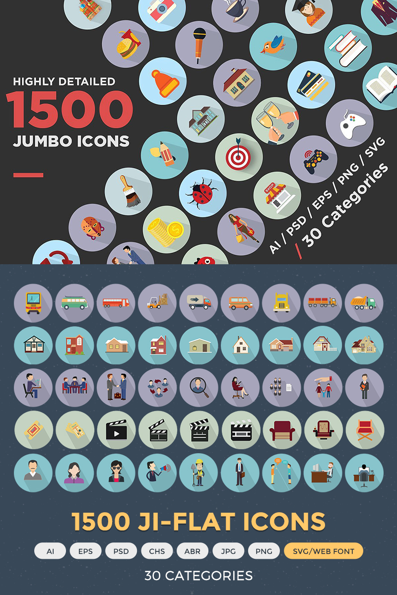 "Icon-Sammlungen Vorlage namens ""Jumbo Flat Icons Pack"" #68312 - Screenshot"