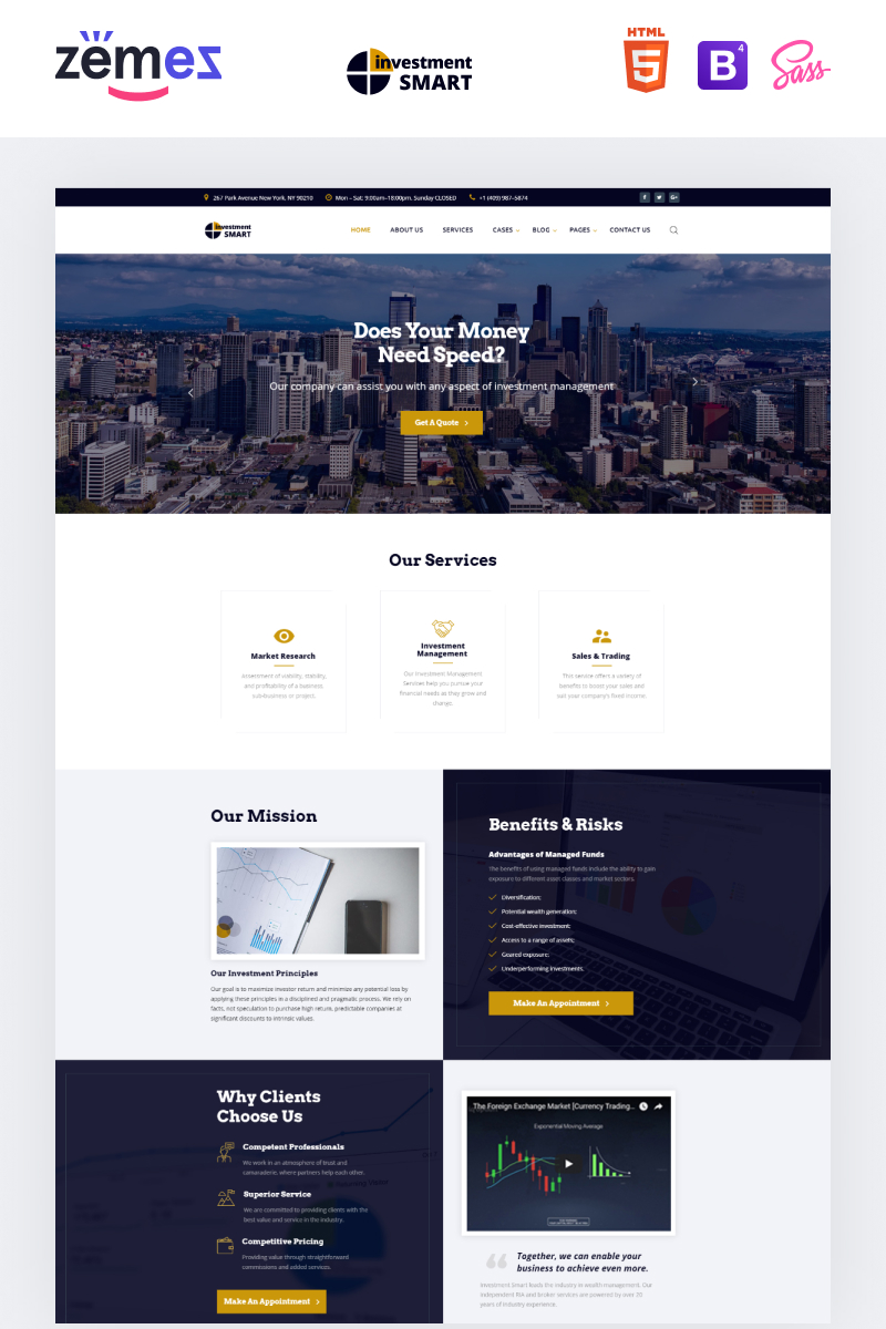 """Investment Smart - Solid Investment Agency Multipage HTML"" Responsive Website template №68347"