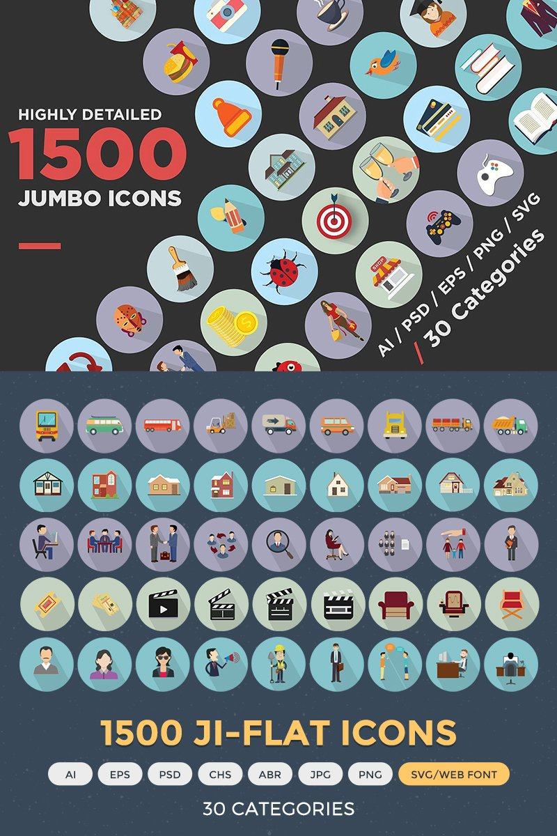Jumbo Flat Icons Pack Iconset Template - screenshot