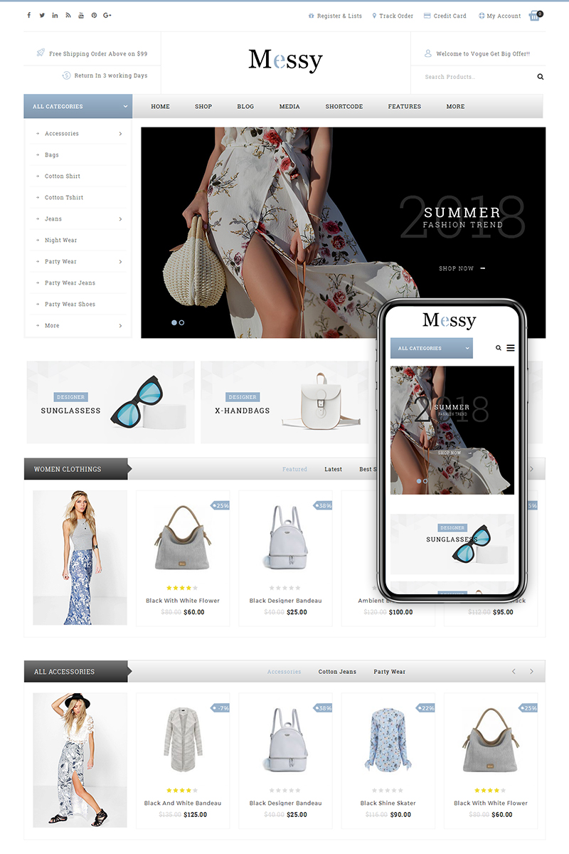 """Messy - Multipurpose Fashion Store"" thème WooCommerce adaptatif #68300"