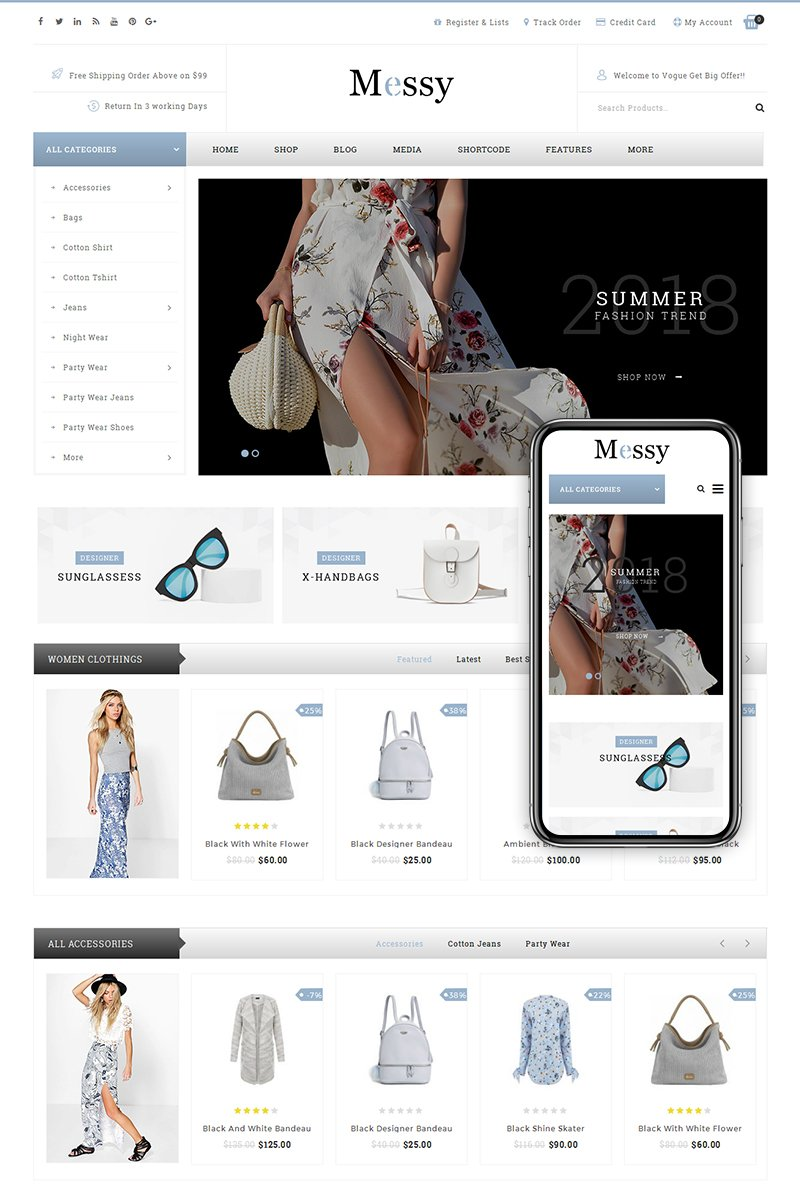 Responsive Messy - Multipurpose Fashion Store Woocommerce #68300