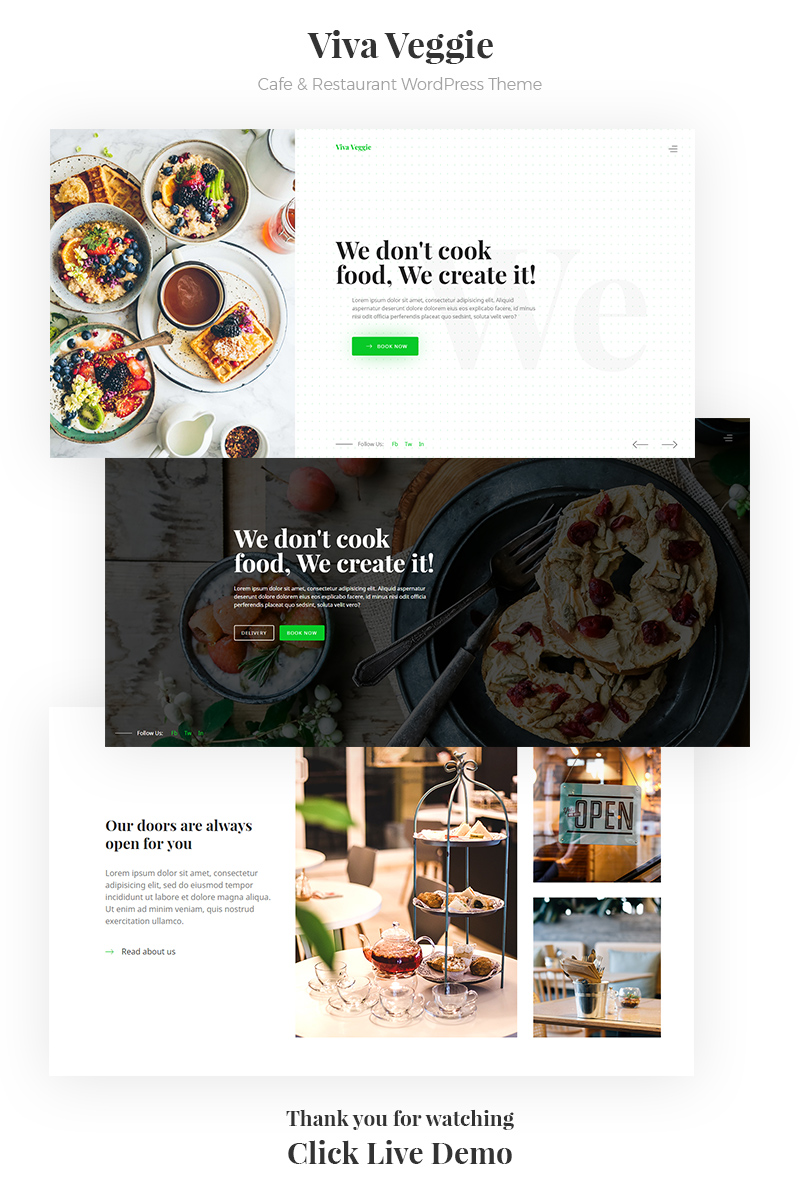 Responsivt Viva Veggie - Cafe & Restaurant WordPress-tema #68303
