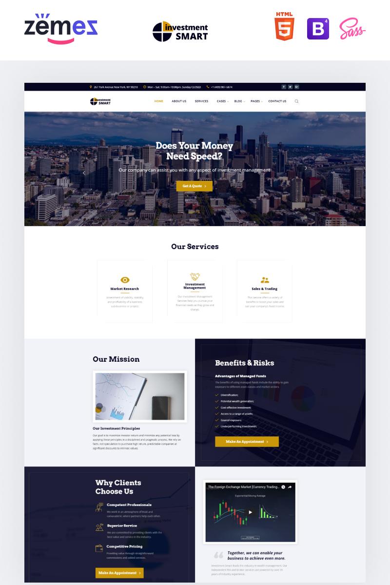 Reszponzív Investment Smart - Solid Investment Agency Multipage HTML Weboldal sablon 68347