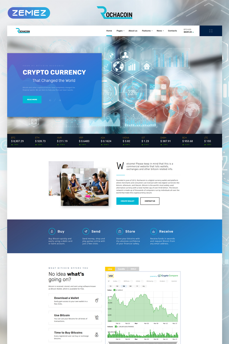 """Rochacoin - Cryptocurrency Multipage HTML5"" Responsive Website template №68326"