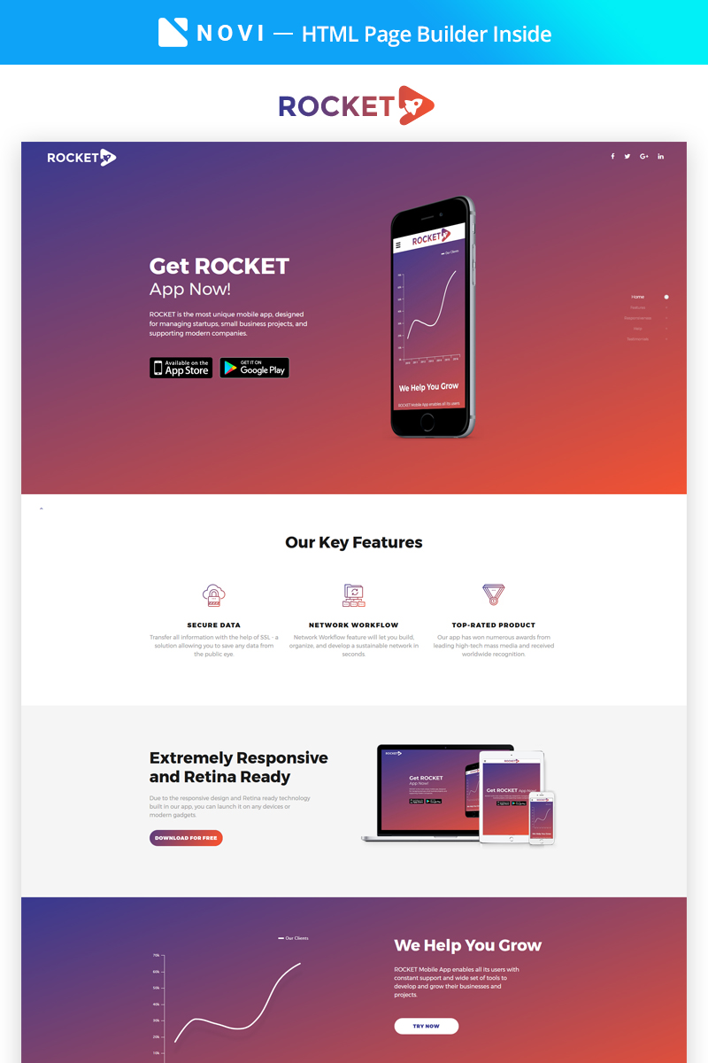 Rocket - Fabulous App Building Agency Compatible with Novi Builder Landing Page Template