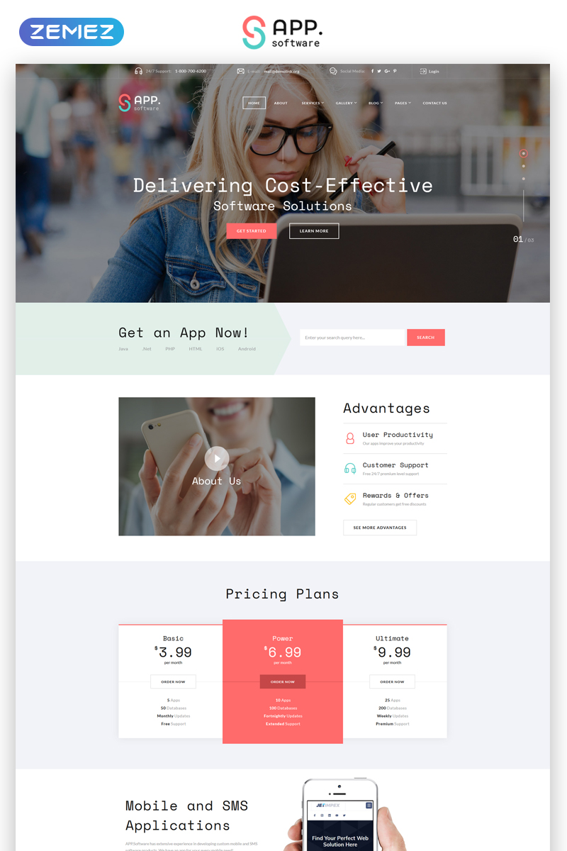 """""""Sapp Software - Cool App Developing Complany Multipage HTML"""" Responsive Website template №68305 - screenshot"""