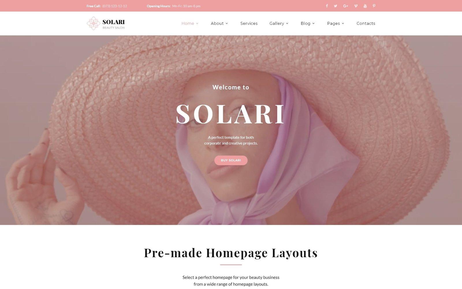 """Solari - Beauty Salon HTML5"" Responsive Website template №68393 - screenshot"