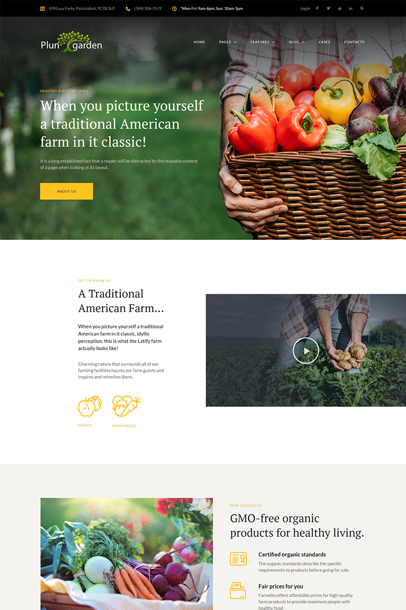 "Tema De WordPress ""Plungarden - Village Farm Responsive Elementor"" #68392"