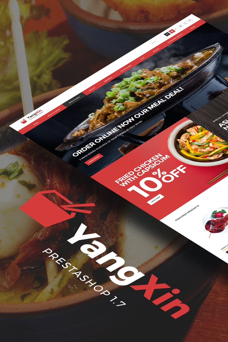 "Tema PrestaShop Responsive #68355 ""YangXin - Chinese Restaurant"""