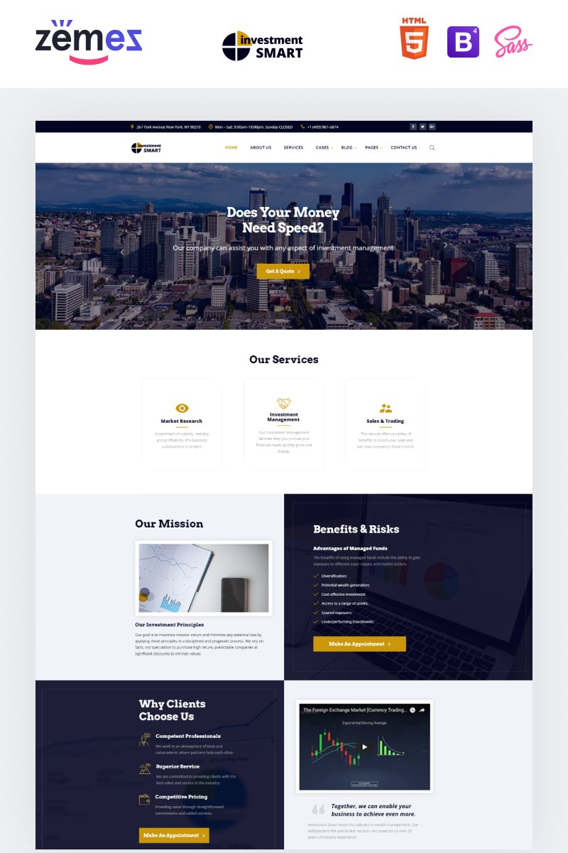 "Template Siti Web Responsive #68347 ""Investment Smart - Solid Investment Agency Multipage HTML"""