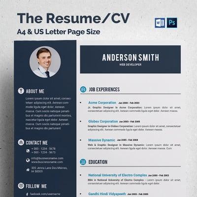web developer cv resume template 68317