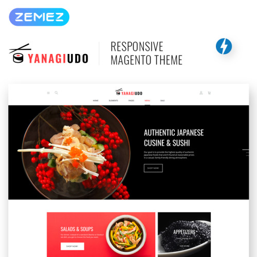 YanagiUdo - Japanese Restaurant - Responsive Magento Template