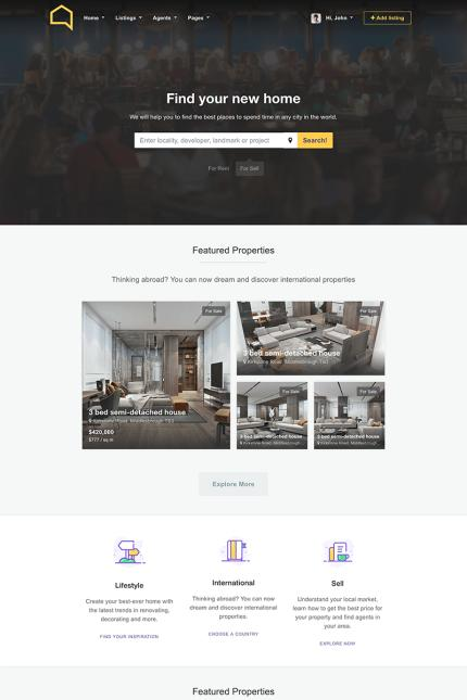 Website Design Template 68445 - business cars directory google maps hotel listing travel real estate realestate