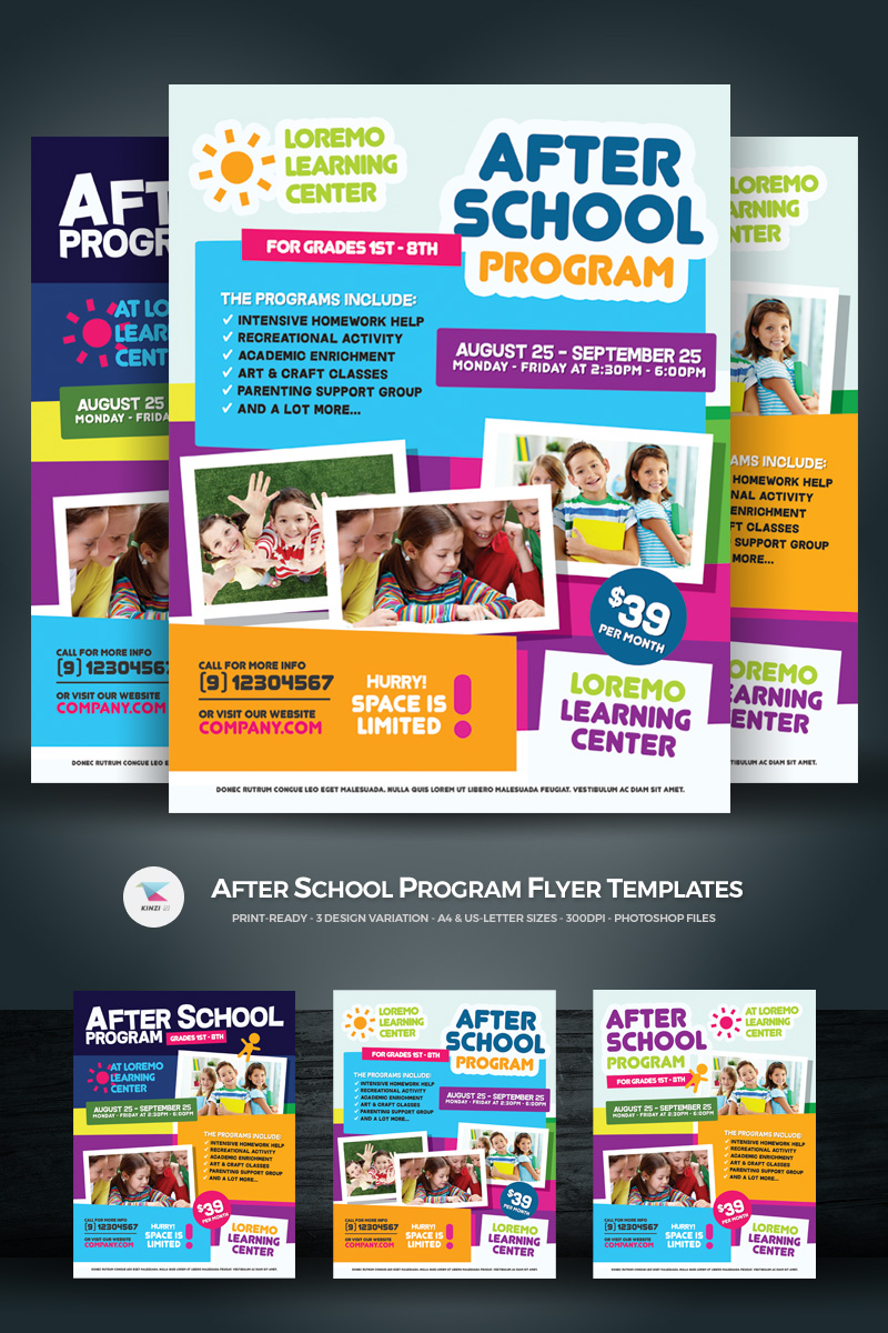 after school program flyer corporate identity template  68488