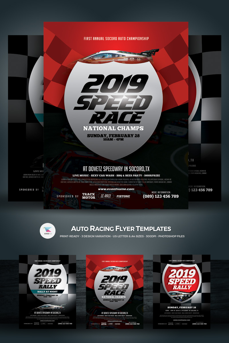 auto racing flyer corporate identity template 68490