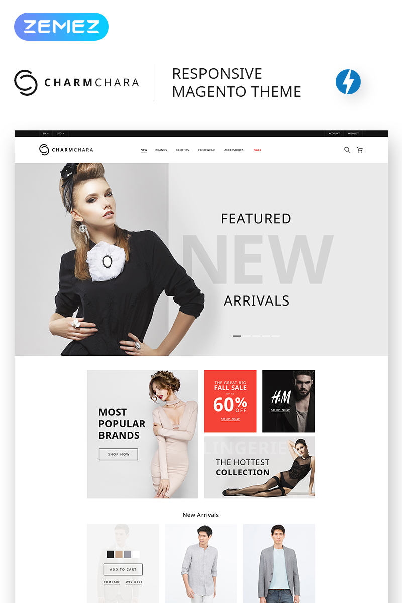 """CharmChara - Fashion Store"" thème Magento  #68461 - screenshot"