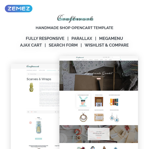 Craftwork - Sophisticated Handmade Jewelry Online Store - OpenCart Template based on Bootstrap
