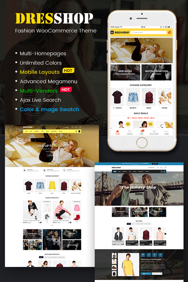DresShop - Clean Fashion WooCommerce Theme - screenshot