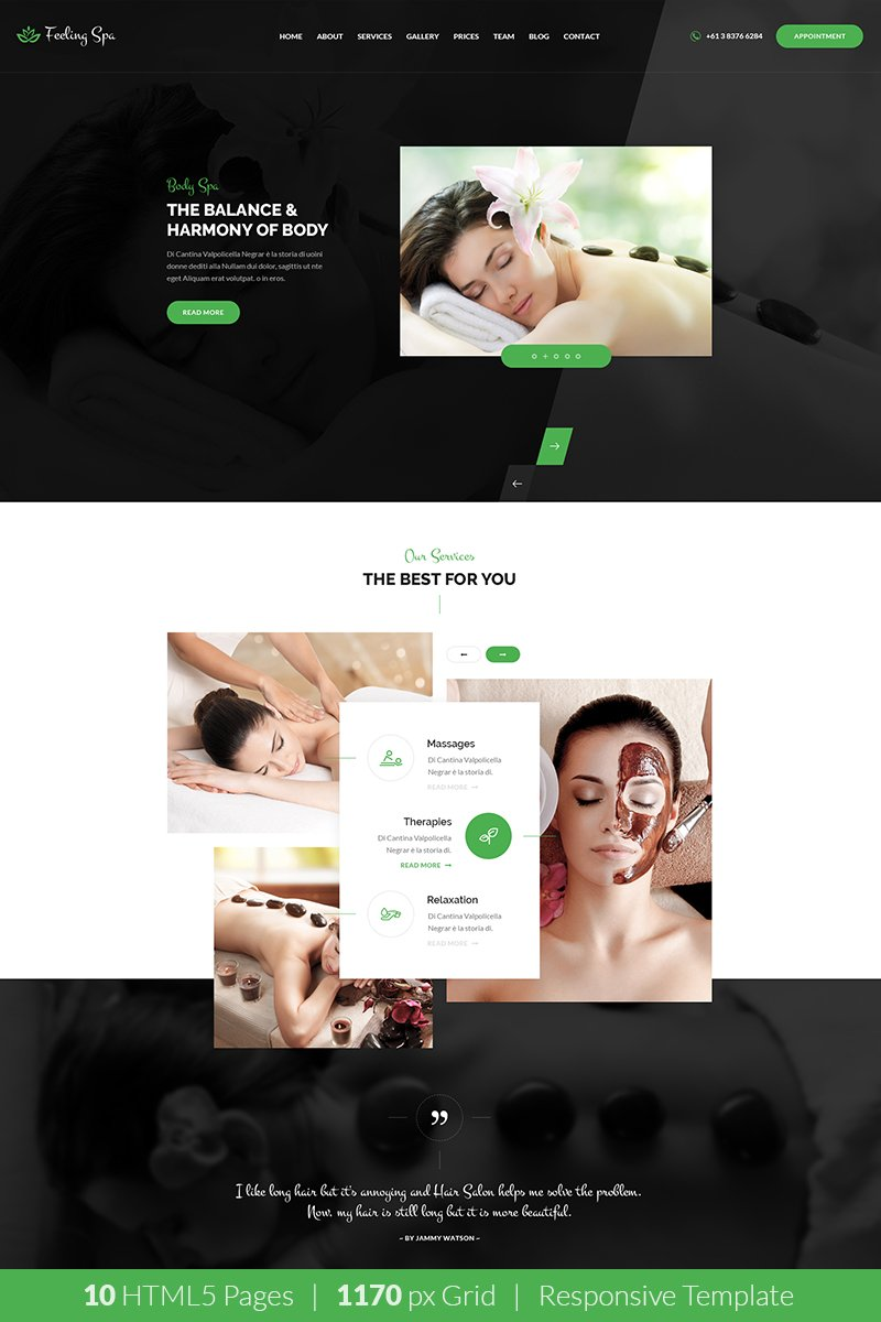 """Feeling Spa - Beauty & Spa HTML Template"" 响应式网页模板 #68483 - 截图"