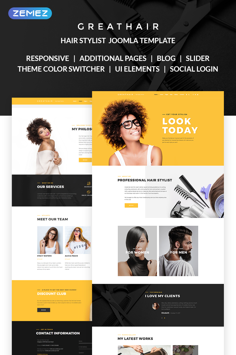 """Greathair - Fancy Hair Stylist"" thème Joomla adaptatif #68467"
