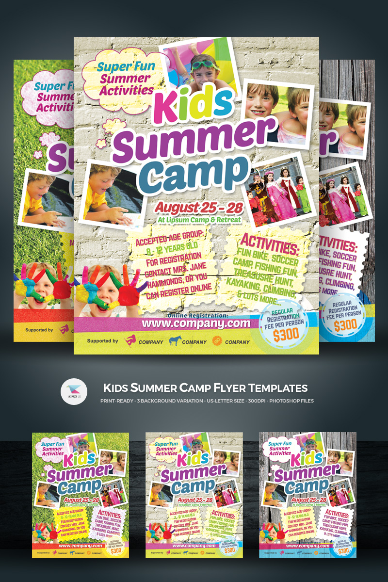 kids summer camp flyer corporate identity template  68486