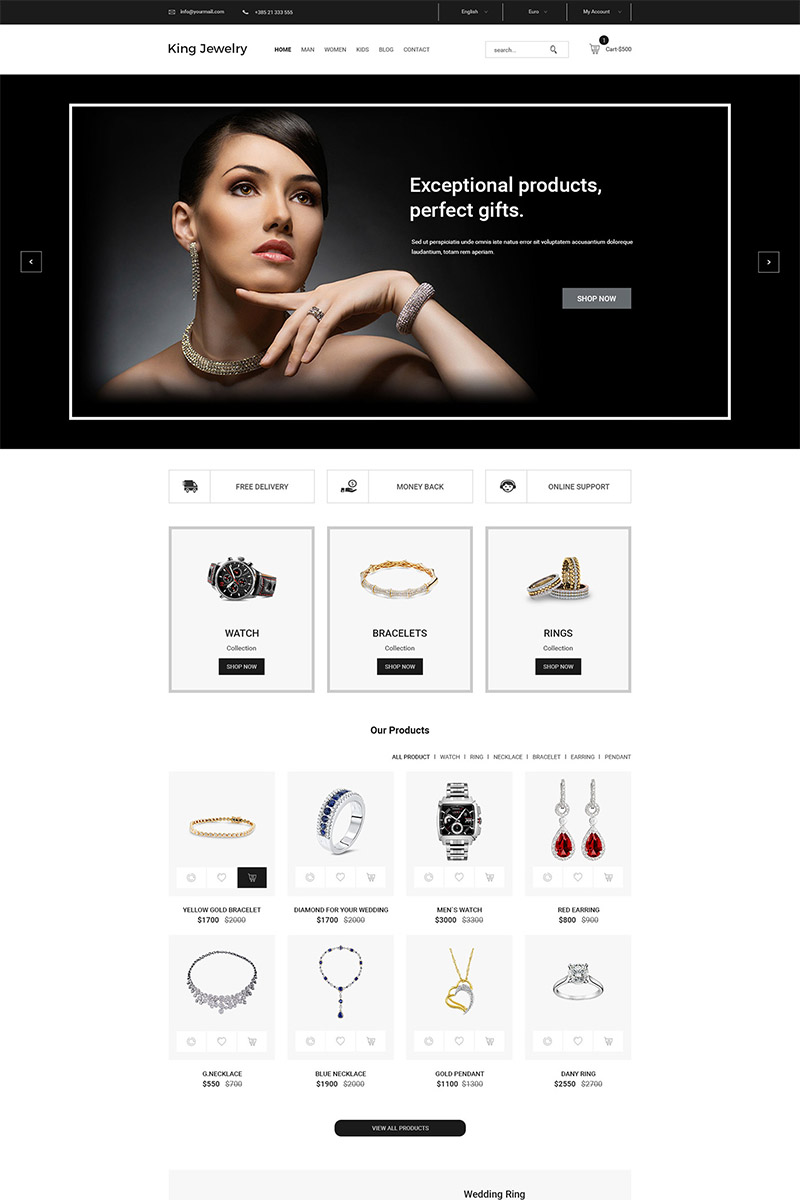King Jewelry Simple and Clean eCommerce - PSD Template