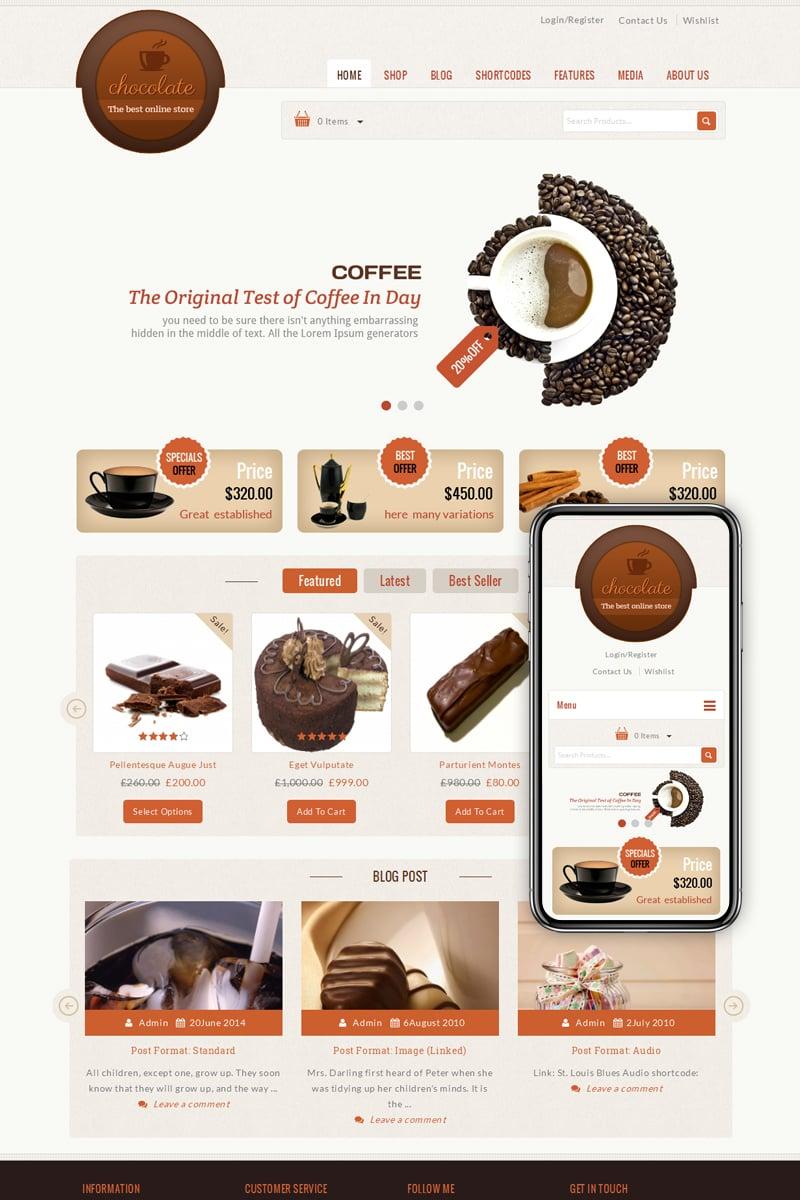 Responsive Chocolate - Cake Store Woocommerce #68498