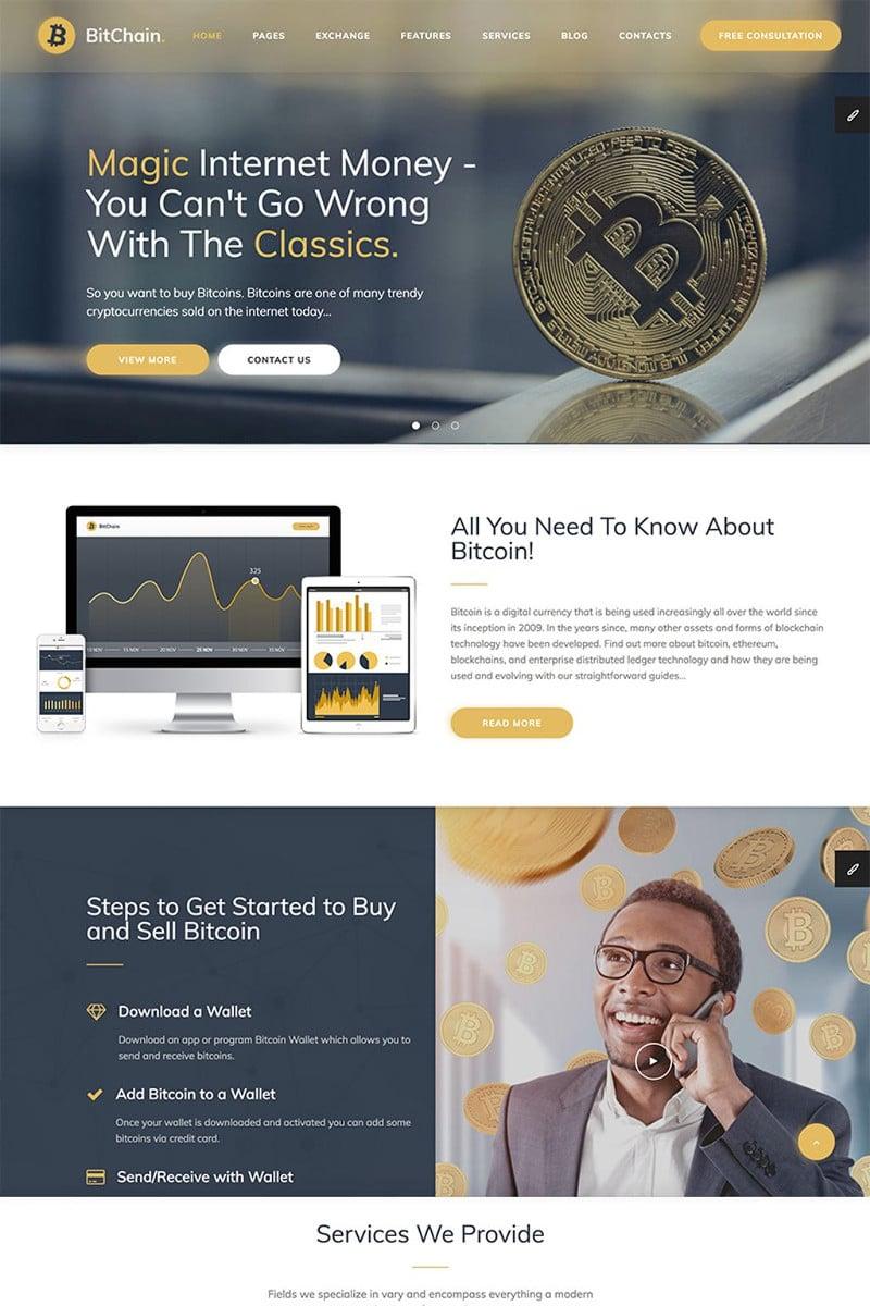 Responsivt BitChain Pro - Mining & Crypto Currency Exchange WordPress-tema #68458