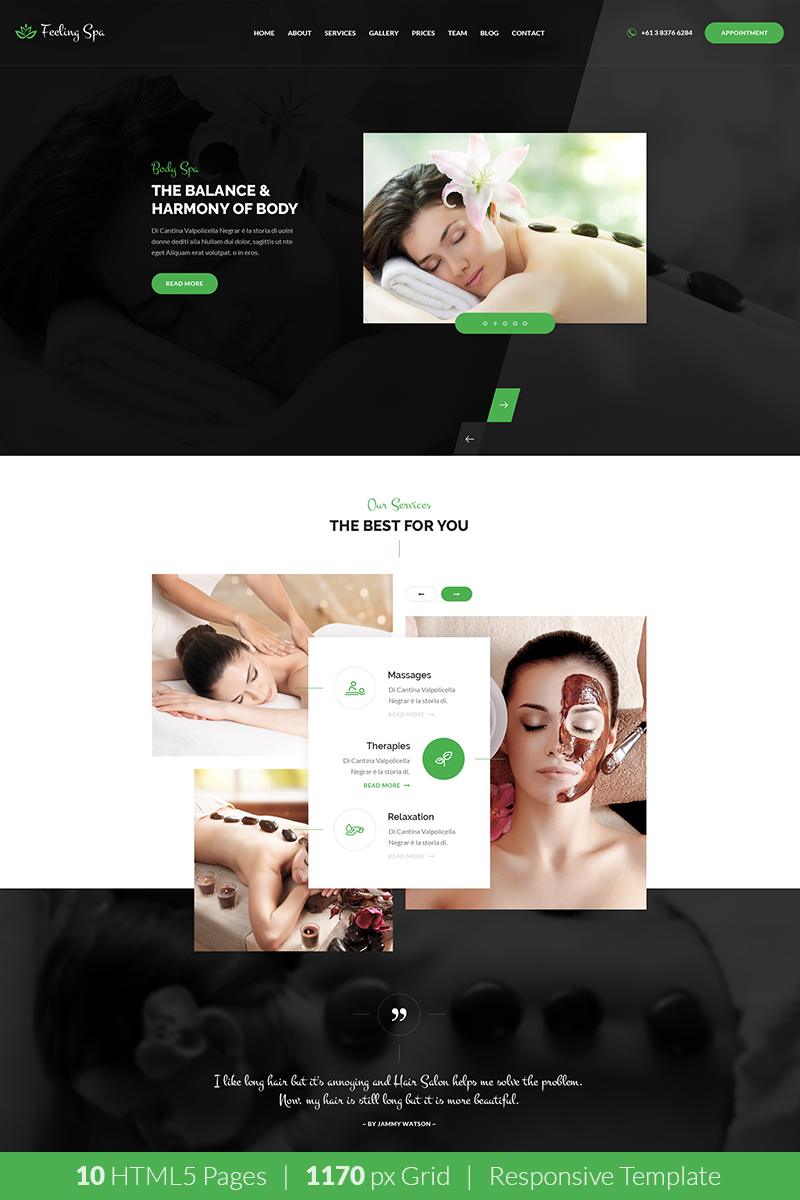 "Website Vorlage namens ""Feeling Spa - Beauty & Spa HTML Template"" #68483 - Screenshot"