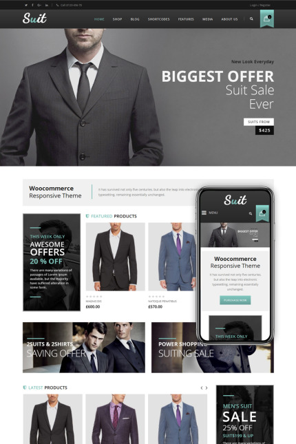 Website Design Template 68566 - apparel accessories shoes woocommerce responsive portfolio