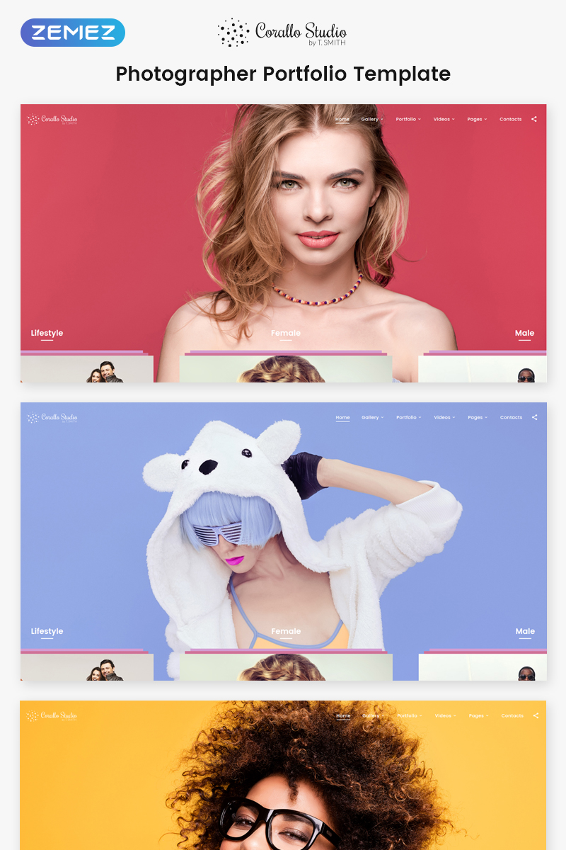 """Corallo Studio - Photographer Portfolio Multipage"" modèle web adaptatif #68544"