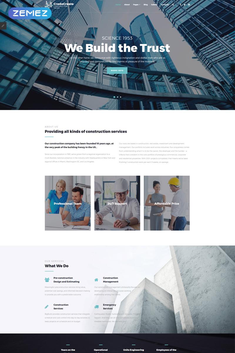 """""""CreadoCreate - Construction Company Clean"""" thème Joomla adaptatif #68532"""