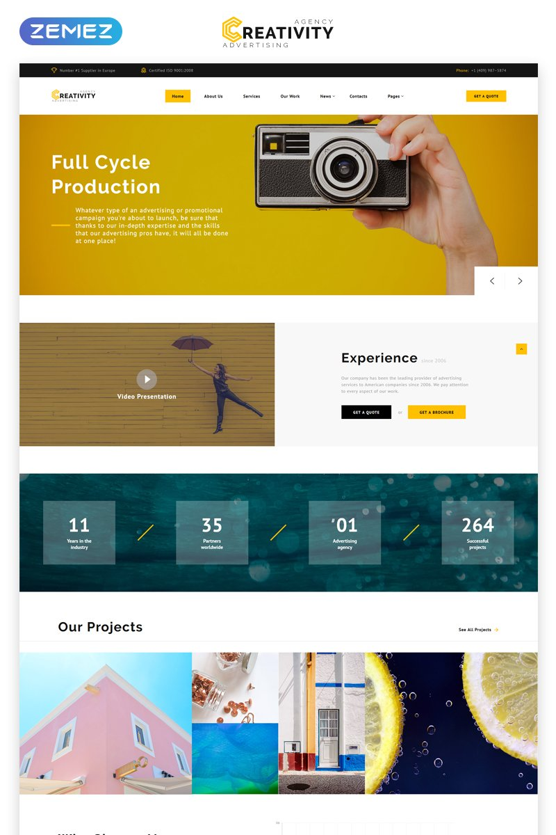 """""""Creativity - Advertising Agency Multipage HTML5"""" Responsive Website template №68508"""