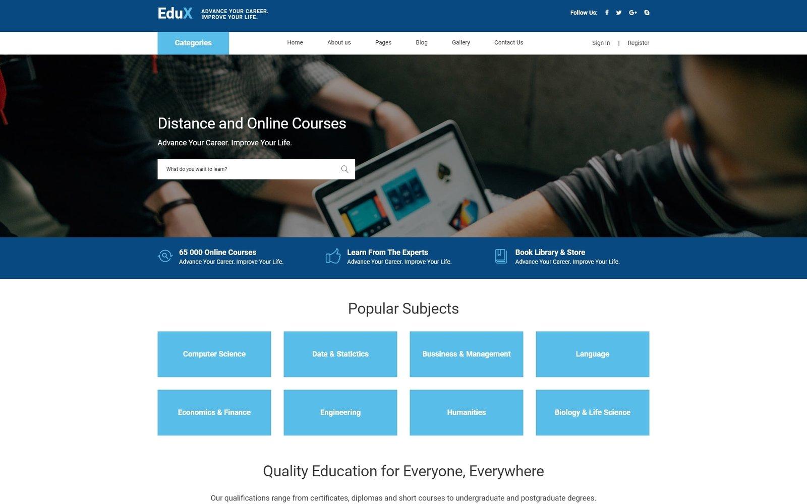 """EduX - Online Courses"" thème Joomla adaptatif #68547"