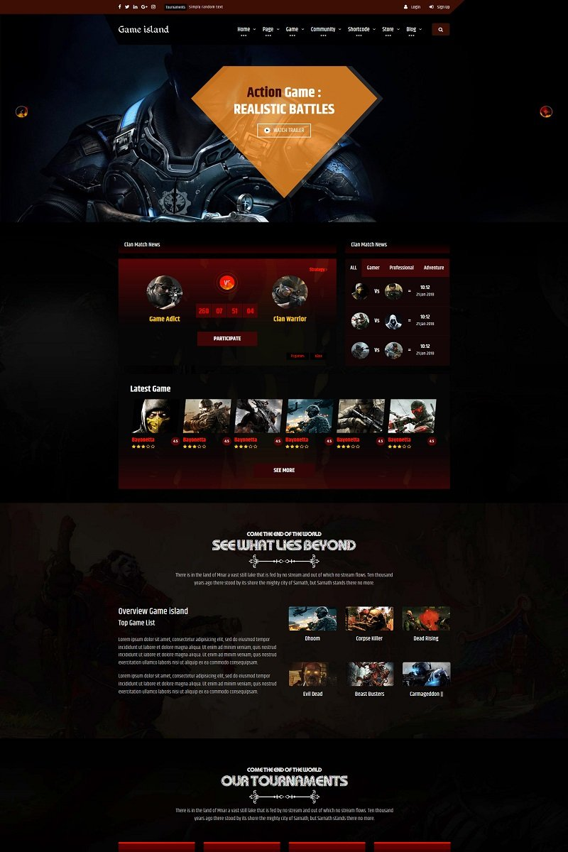 Game Island Community Portal Gaming Multi Purposes Bootstrap Website Template