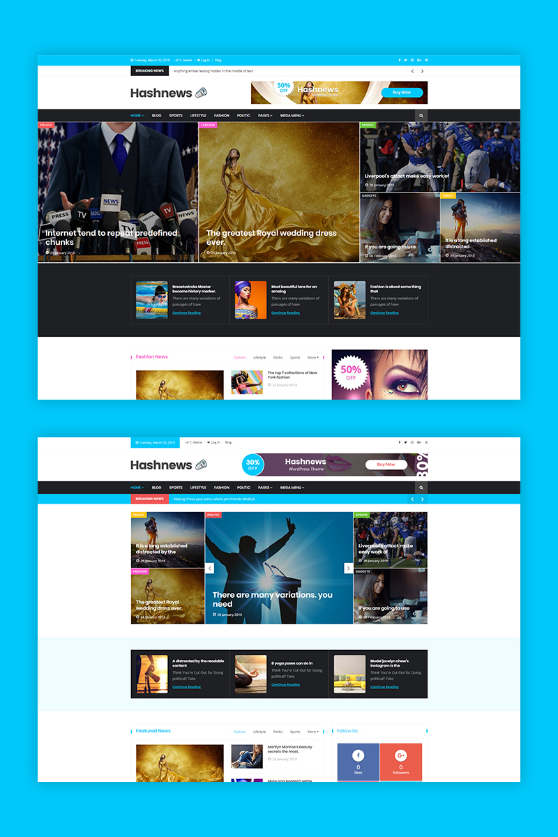 """HashNews - Magazine & Newspaper"" Responsive WordPress thema №68586"