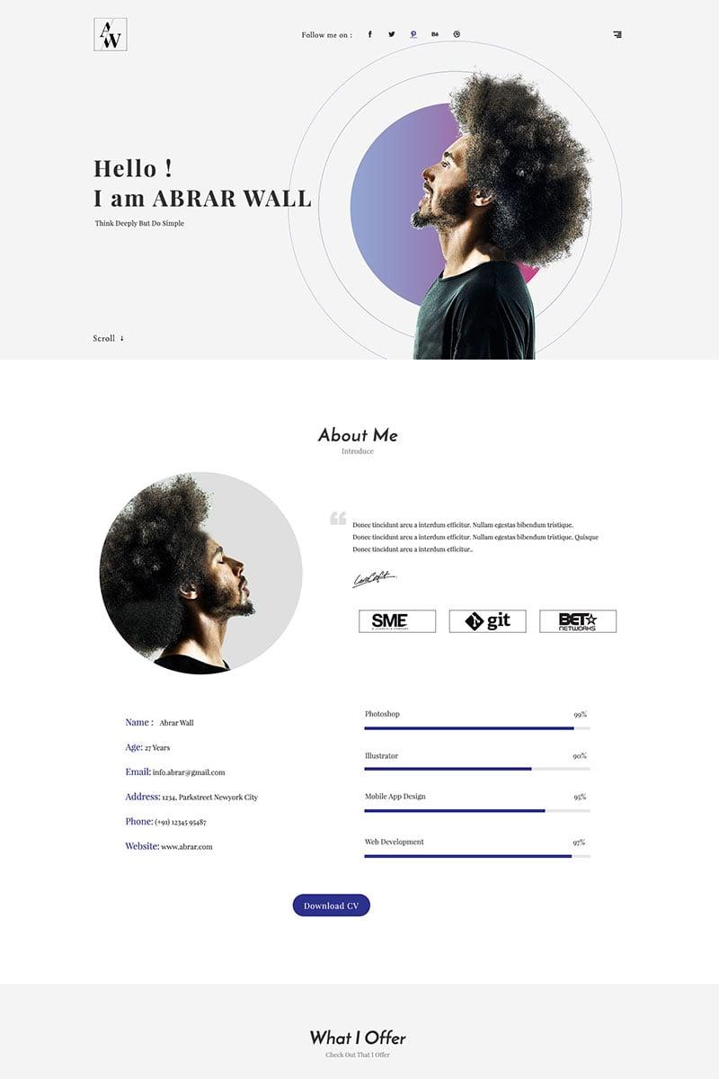 "Landing Page Template namens ""Abrar Wall - Resume HTML"" #68585 - Screenshot"