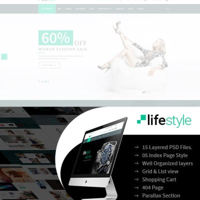 Template photoshop psd photoshop web templates for Lifestyle e commerce