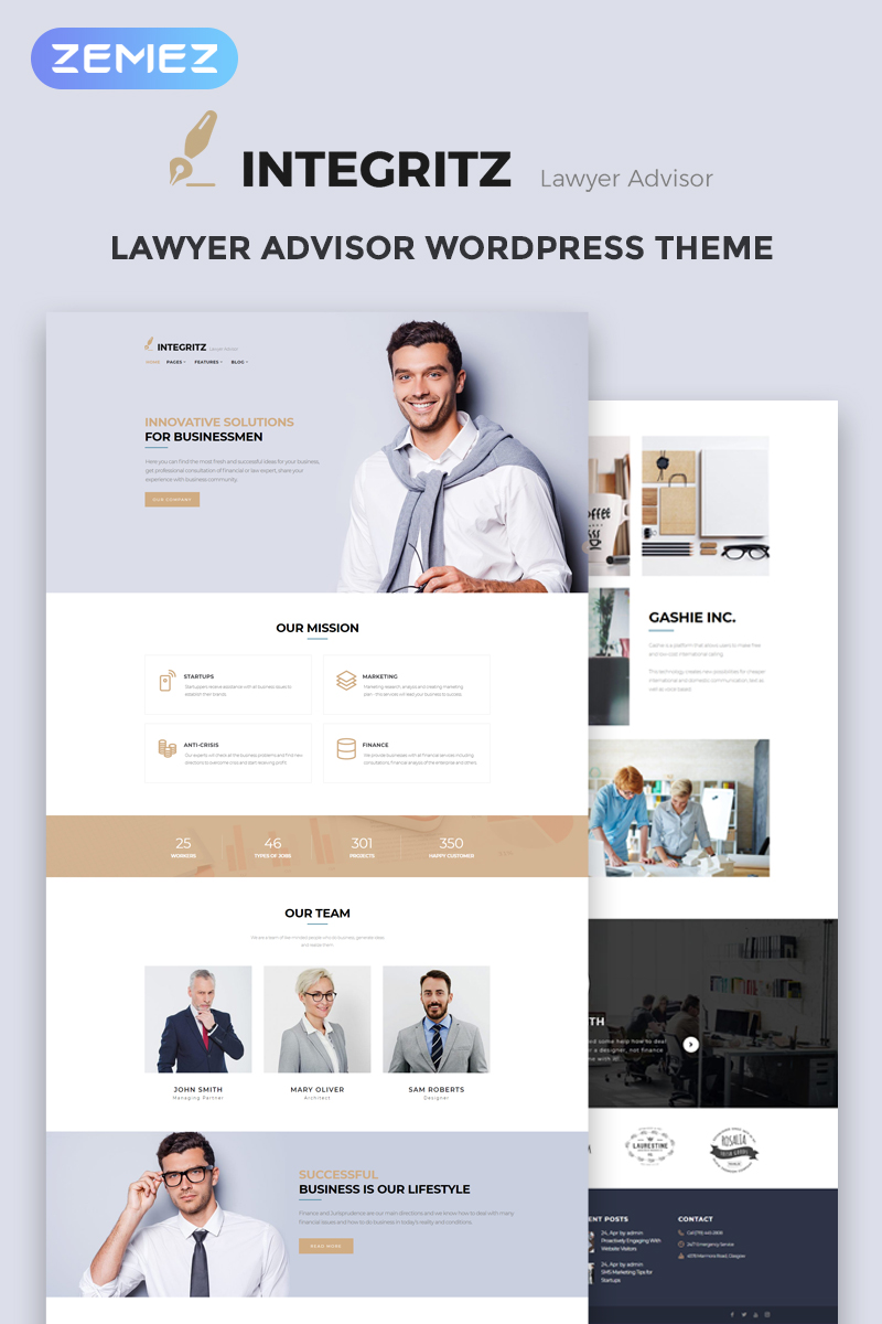 "Modello WordPress Responsive #68519 ""Integritz - Responsive Law Firm Elementor"""