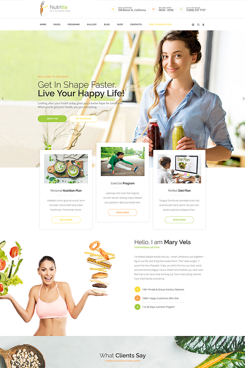 """Nutritia - Healthy Nutrition and Dietology ."" Responsive WordPress thema №68597"