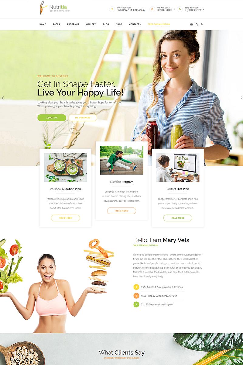 """Nutritia - healthy nutrition and dietology"" 响应式WordPress模板 #68597"