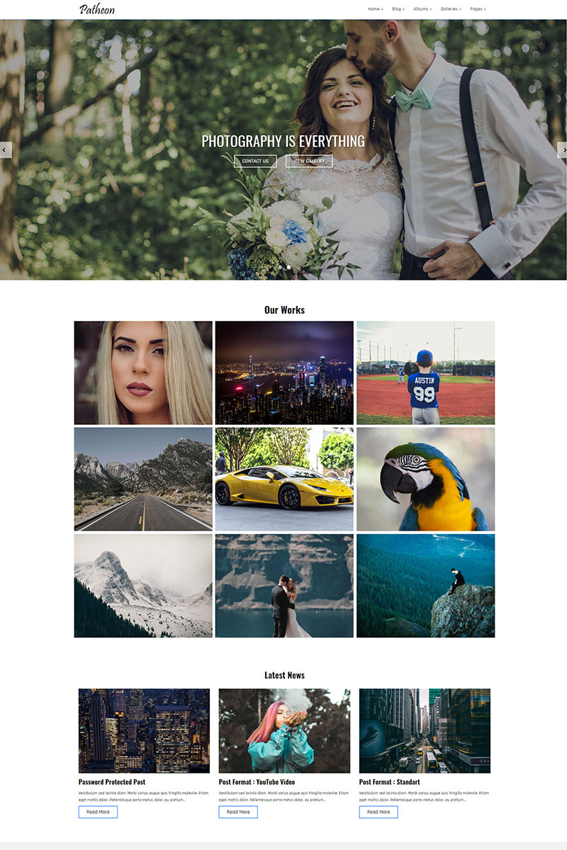 """Patheon - Photography"" - адаптивний WordPress шаблон №68542"