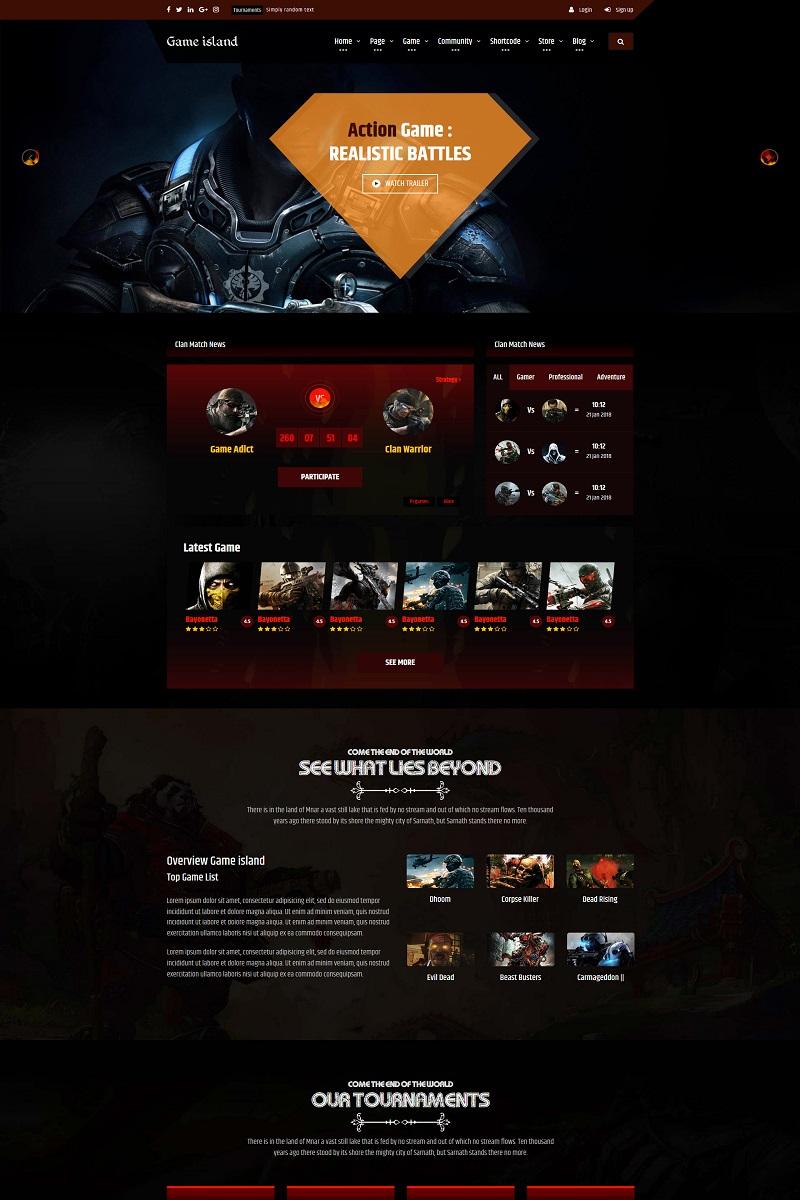 "Plantilla Web ""Game Island - Community Portal Gaming Multi Purposes Bootstrap"" #68596"
