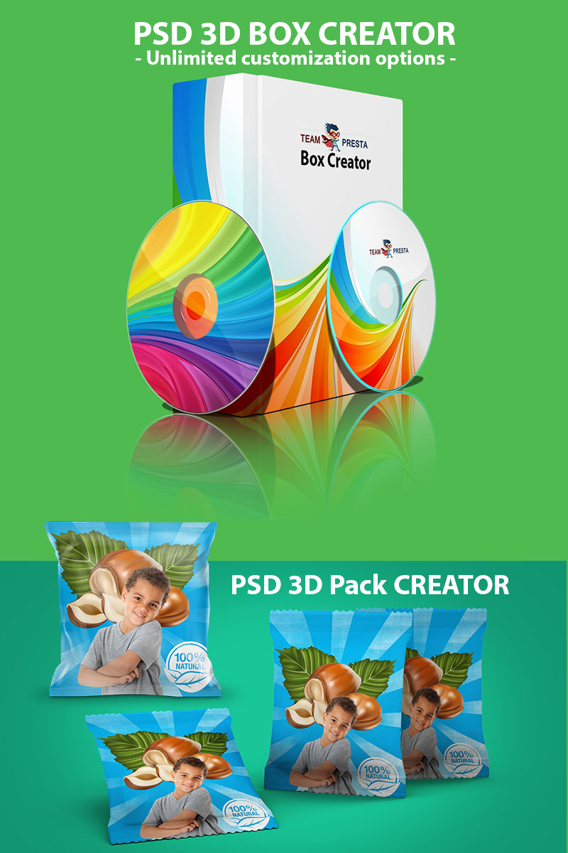 PSD Box Pack Bundle Product Mockup 68523