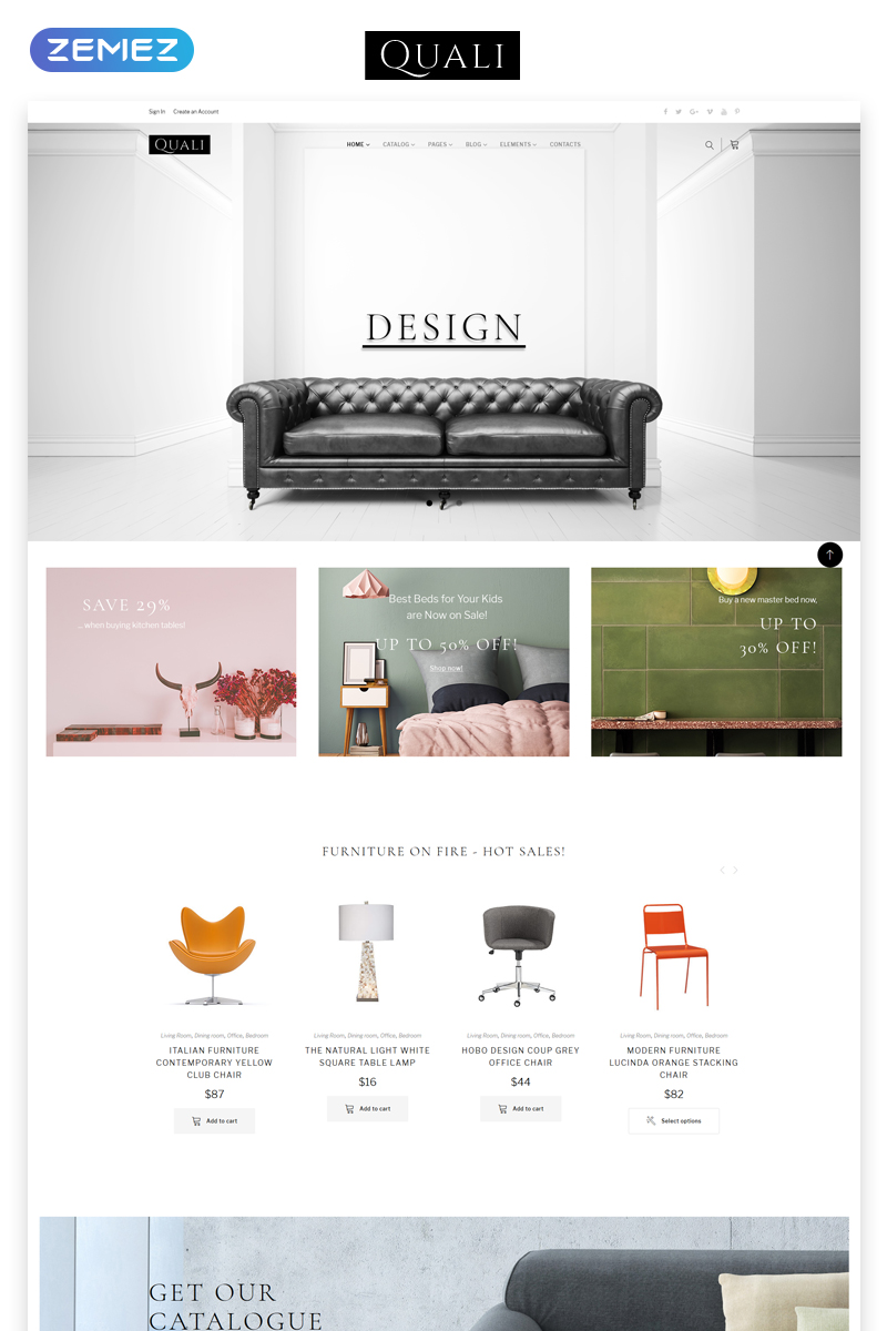 """Quali - Furniture Multipage Responsive"" Responsive Website template №68570"
