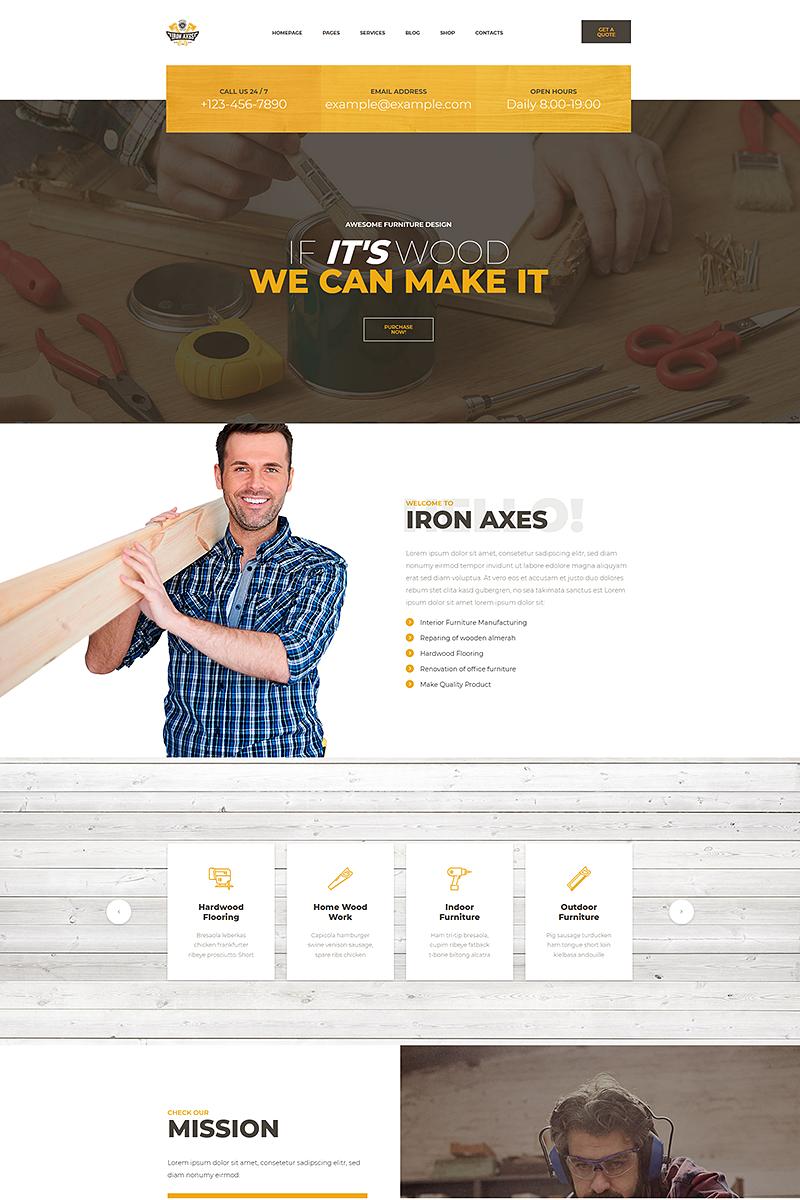 Responsivt IronAxes - Carpenter & Handyman WordPress-tema #68594
